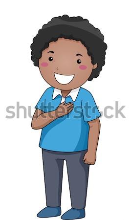 Gyerek fiú kezek mellkas illusztráció kicsi Stock fotó © lenm