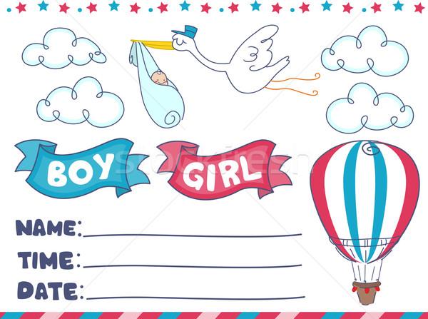 Birthday Baby Invite Design Elements Stock photo © lenm