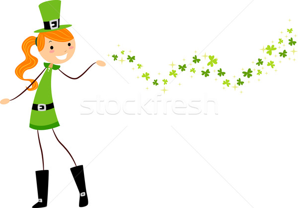 Fille illustration femme vert Homme dessin Photo stock © lenm