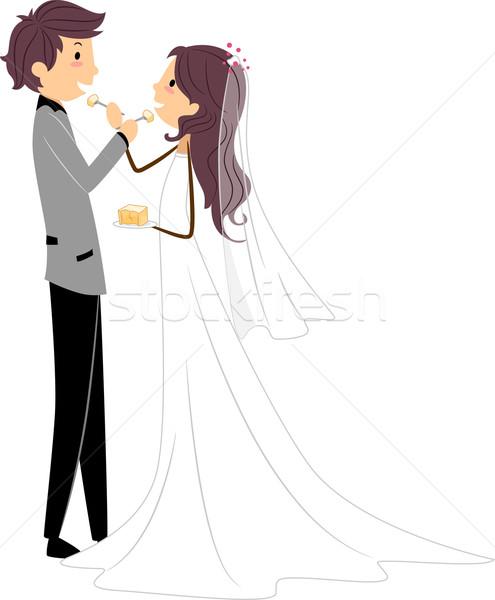 Hochzeitstorte illustration teilung scheibe kuchen for Disegni sposi stilizzati