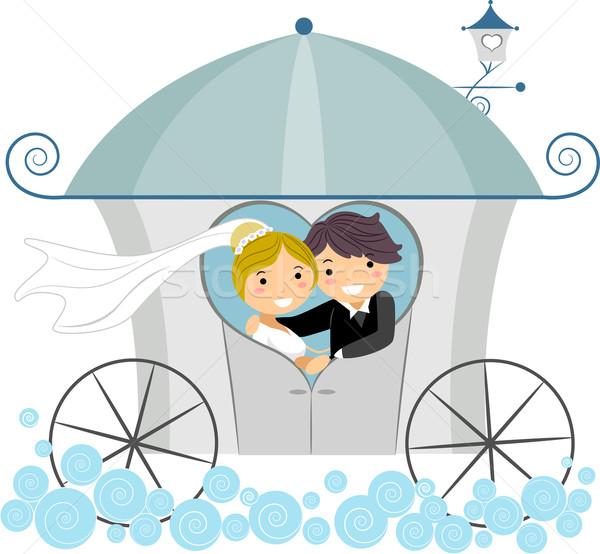 Esküvő fuvar illusztráció ifjú pár lány pár Stock fotó © lenm