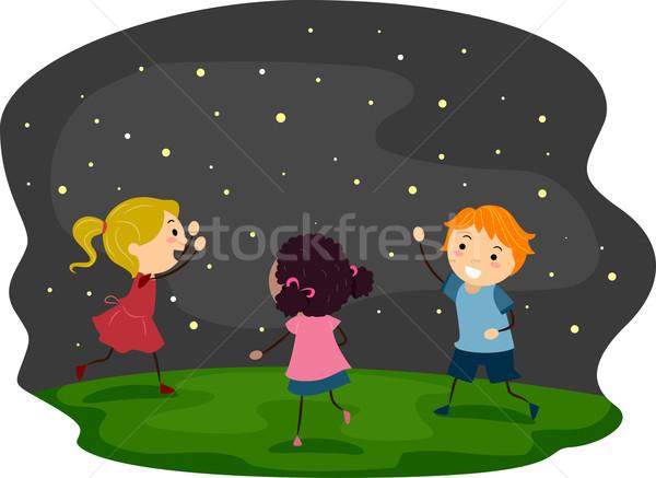Szentjánosbogár gyerekek illusztráció gyermek fiú gyerek Stock fotó © lenm