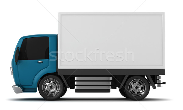 Camion de livraison 3d illustration cartoon fret illustration Photo stock © lenm