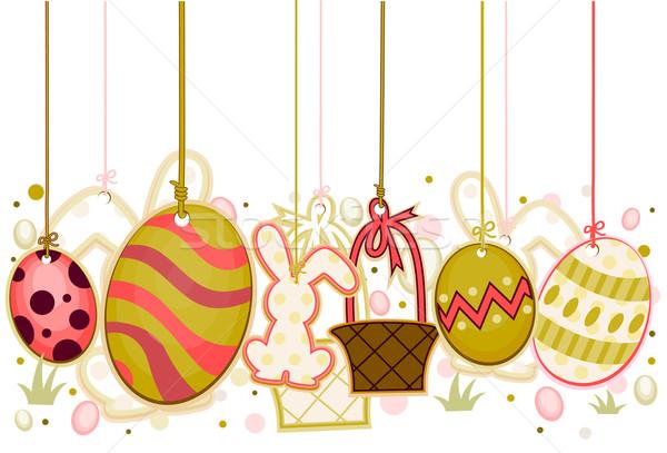 Húsvét tárgyak vágási körvonal tojások kosár út Stock fotó © lenm