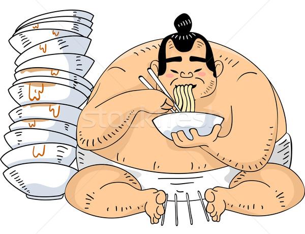 Sumo worstelaar ramen illustratie vergadering naast Stockfoto © lenm