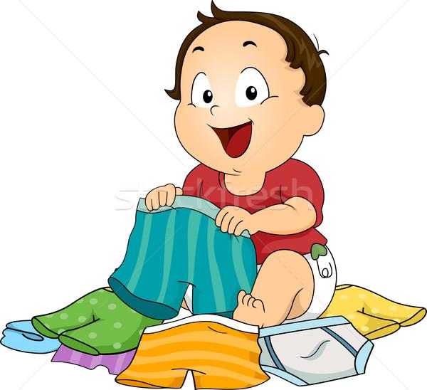 Jongen kiezen ondergoed illustratie baby kid Stockfoto © lenm