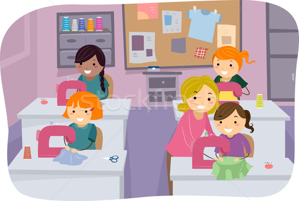 Coser clase ninas ilustración niñas aprendizaje Foto stock © lenm