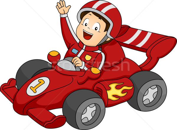 Stock fotó: Autó · versenyzés · fiú · illusztráció · kicsi · boldogan