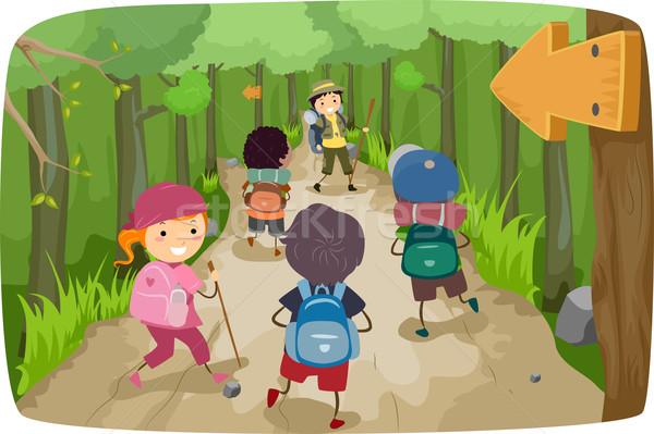 Turystyka dzieci ilustracja mały podróży lasu Zdjęcia stock © lenm