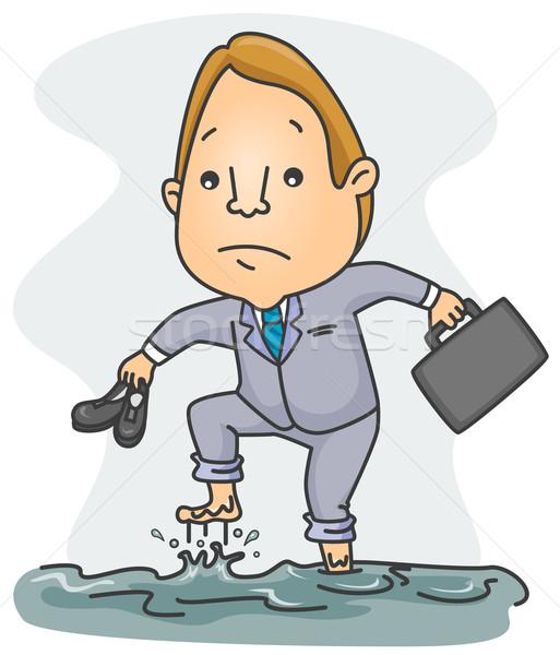 Inundação homem empresário profissional isolado caucasiano Foto stock © lenm