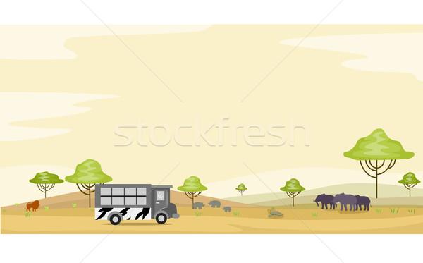 Safari Park Tour Hintergrund Illustration Bus Stock foto © lenm