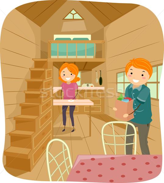 Para malutki domu ilustracja życia cute Zdjęcia stock © lenm