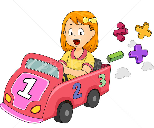 Kid Girl Math Symbols Car Stock photo © lenm