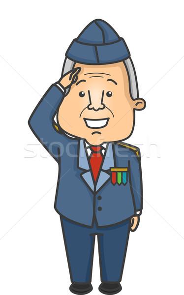 Idős férfi veterán illusztráció idős katona Stock fotó © lenm