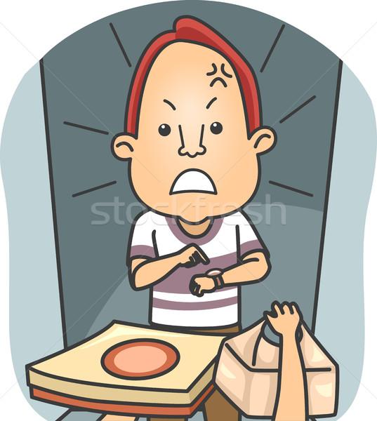 男 怒っ 遅い 食品 配信 実例 ストックフォト © lenm
