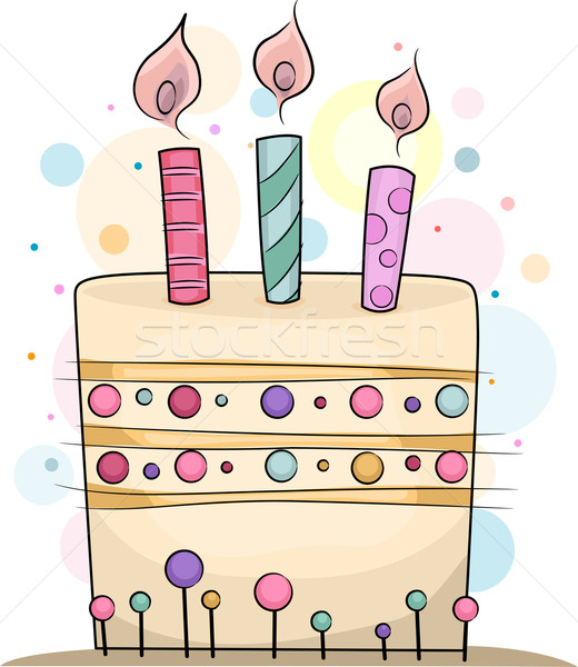 Bolo de aniversário ilustração velas topo aniversário celebração Foto stock © lenm