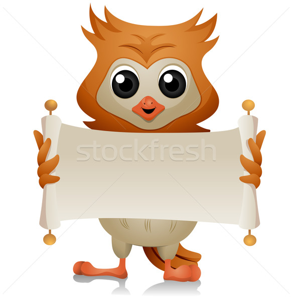 Owl with Open Scroll Stock photo © lenm