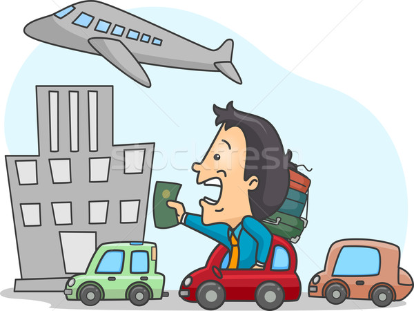 Laat vlucht illustratie man verkeer Stockfoto © lenm