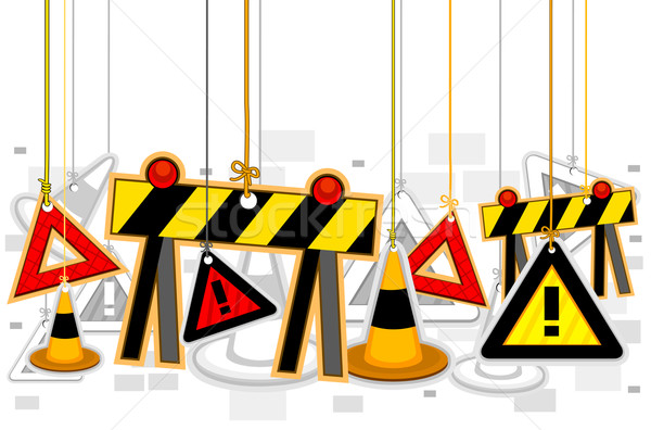 Stock photo: Construction Signs On Strings