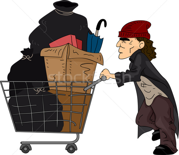 Hajléktalan férfi illusztráció toló kosár újrahasznosítható Stock fotó © lenm