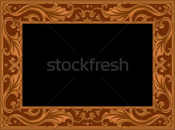 Houten frame illustratie ontwerp kunst patroon Stockfoto © lenm