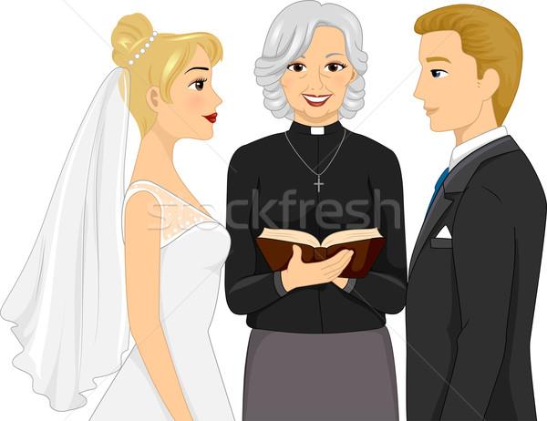 Düğün töreni arkadan görünüm örnek kadın rahip kadın Stok fotoğraf © lenm