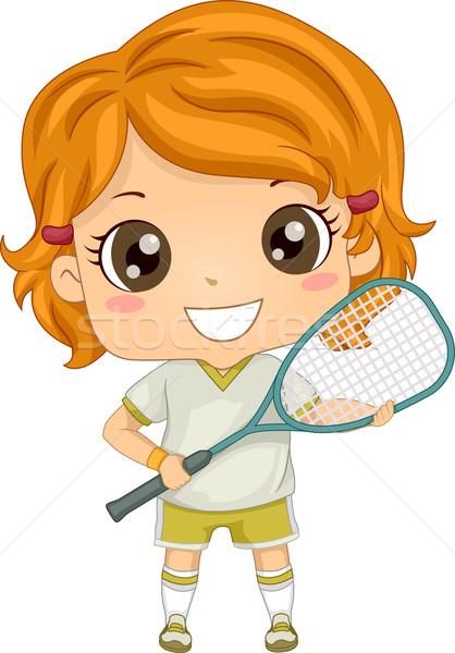 Squash fille illustration engins Kid jeunes Photo stock © lenm