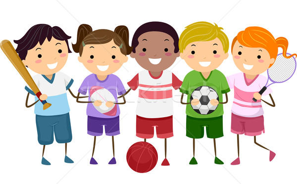 Kids Sports Cartoon: Sports Kids Vector Illustration © Lenm (#4817246)