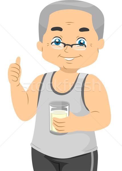 Supérieurs lait illustration âgées Homme Photo stock © lenm