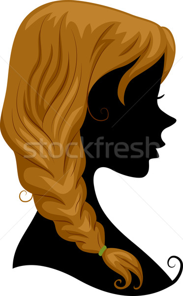 Silhouette Hair Braid Stock photo © lenm
