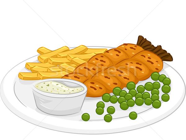 魚 チップ 実例 プレート 食事 ベクトル ストックフォト © lenm