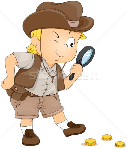 Tesoro caccia illustrazione piccolo ragazzo bambino Foto d'archivio © lenm