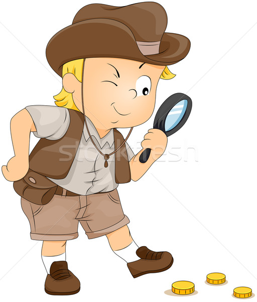 Schat jacht illustratie weinig jongen kind Stockfoto © lenm