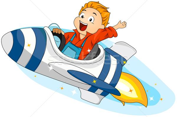 宇宙船 実例 少年 ライディング 子供 ストックフォト © lenm