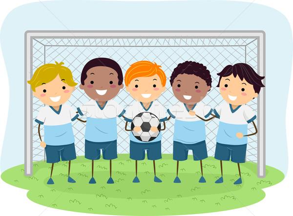 Gyerekek futball fiúk illusztráció kicsi egyenruhák Stock fotó © lenm
