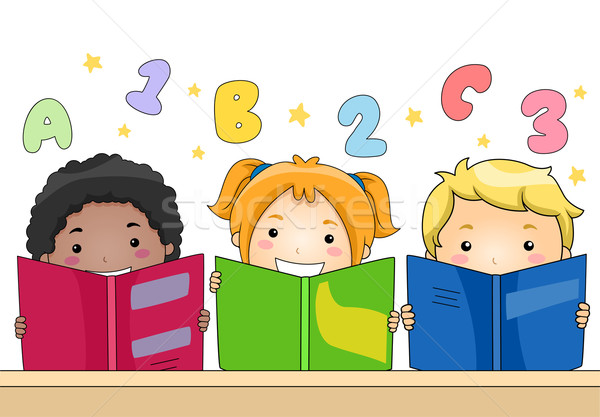 Kids Reading Books Stock photo © lenm