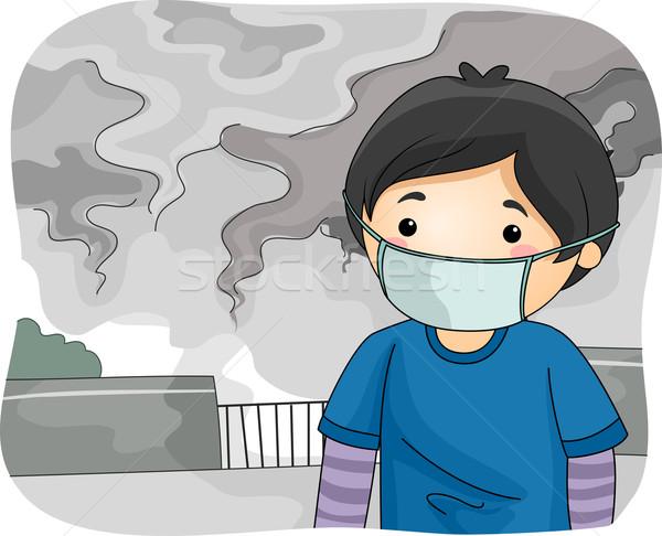 Criança menino fumar poluição máscara ilustração Foto stock © lenm