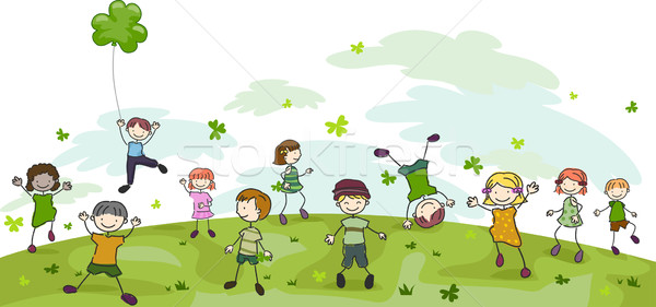 Jour de St Patrick doodle illustration enfants jouant fille enfants Photo stock © lenm