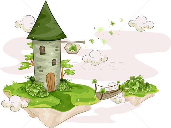Sziget torony illusztráció áll lebeg zöld Stock fotó © lenm
