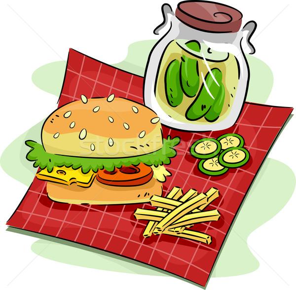 ハンバーガー 実例 食品 サンドイッチ ピクニック お祝い ストックフォト © lenm
