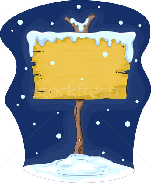 Blank Signboard in Snow Background Stock photo © lenm