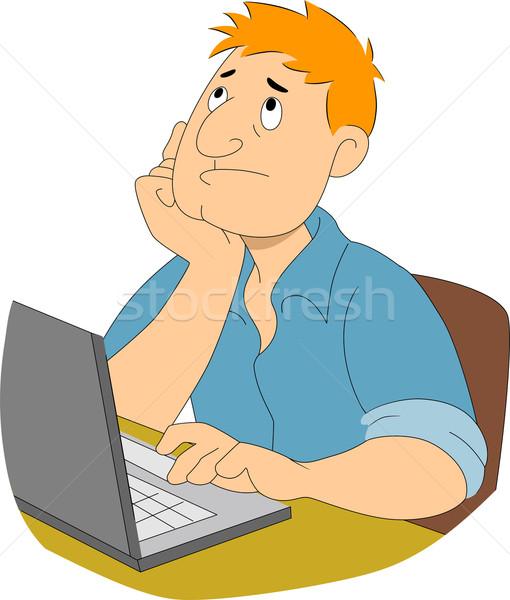 Guy Writer Thinking Stock photo © lenm