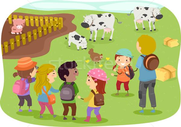 Stickman Kids School Trip to Farm Stock photo © lenm
