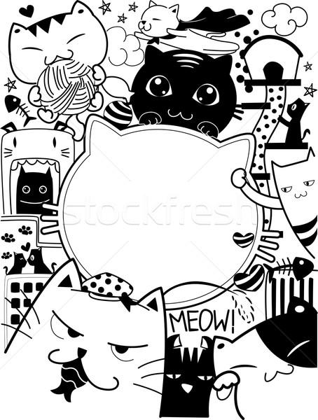 Doodle Cats Stock photo © lenm