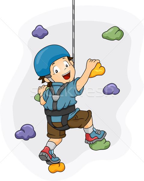 Wall Climbing Boy Stock photo © lenm