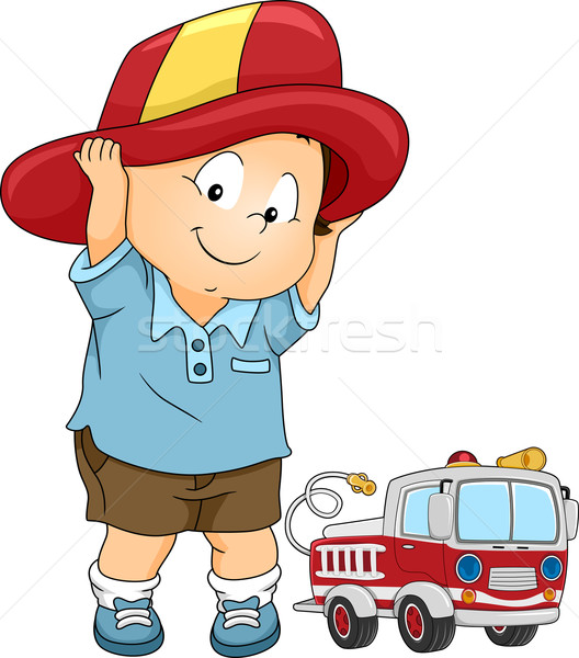 Fireman Costume Boy Stock photo © lenm