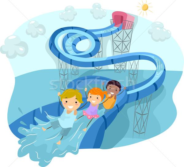 Водная горка петля иллюстрация дети счастливо вниз Сток-фото © lenm