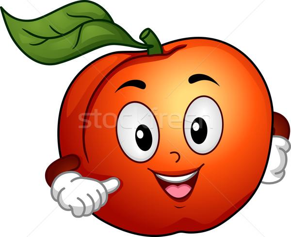 Foto stock: Pêssego · mascote · ilustração · feliz · indicação · comida