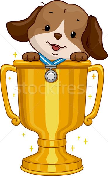 Kutya vetélkedő nyertes illusztráció aranyos visel Stock fotó © lenm