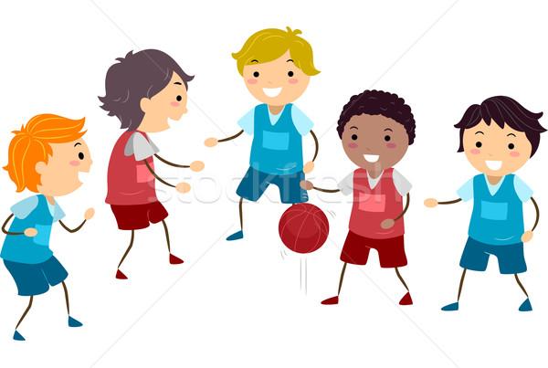 Stockfoto: Basketbal · kinderen · illustratie · groep · jongens · spelen